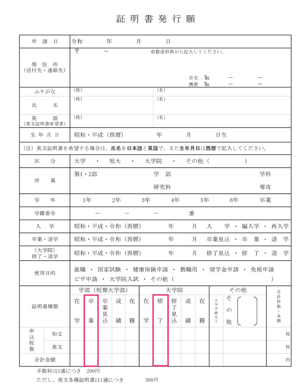 証明書発行願(近畿大学)